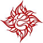 TRIJYA 太陽マークステッカーレッド(S)
