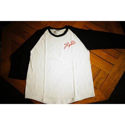 TRIJYA ピンスト 7分袖ラグランTシャツ 白×黒