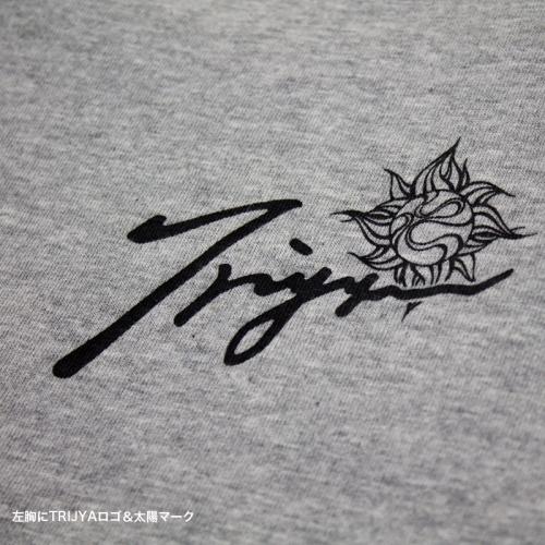 TRIJYA ピンスト 7分袖ラグランTシャツ 杢×黒